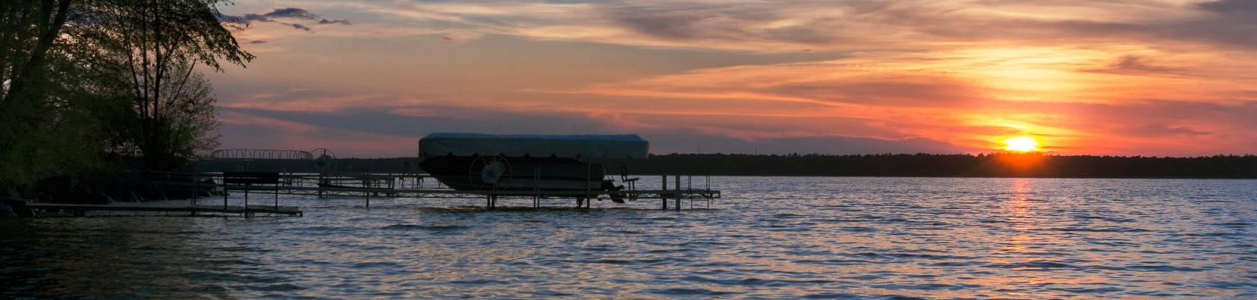 rippling lake at sunset
