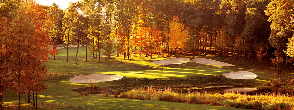golf course green in fall