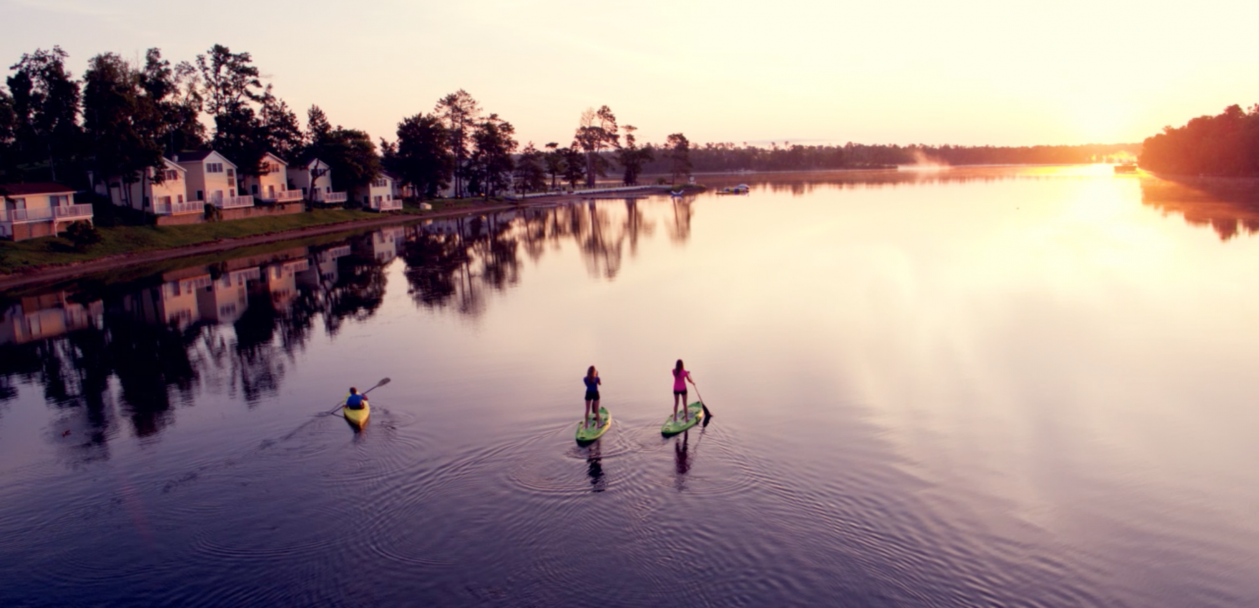 Water sports at sunrise