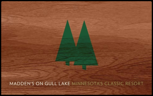 Madden's on Gull Lake - Minnesota's Classic Resort Gift Card Image on Wood Background with Green Trees
