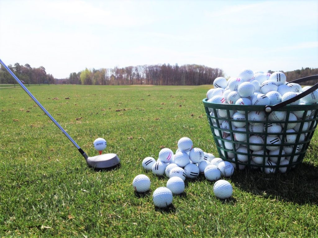 Driving range balls bright