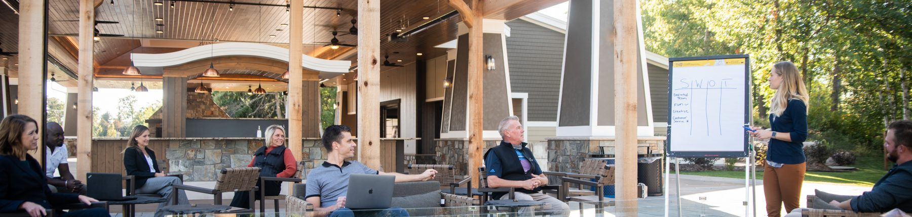 Meeting held at the outdoor patio area