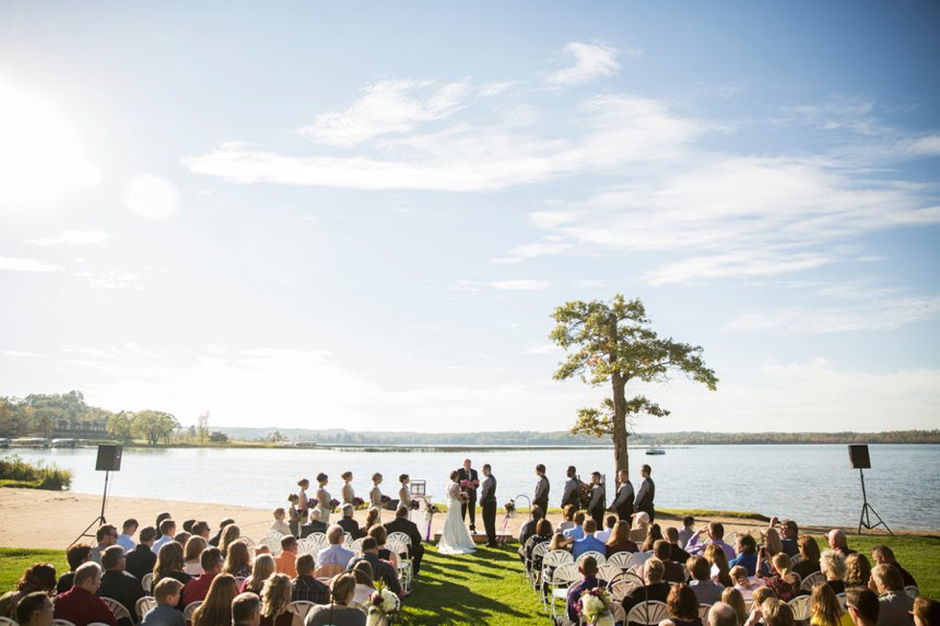 Bride and groom in the aisle during their Wilson Bay Beach Ceremony