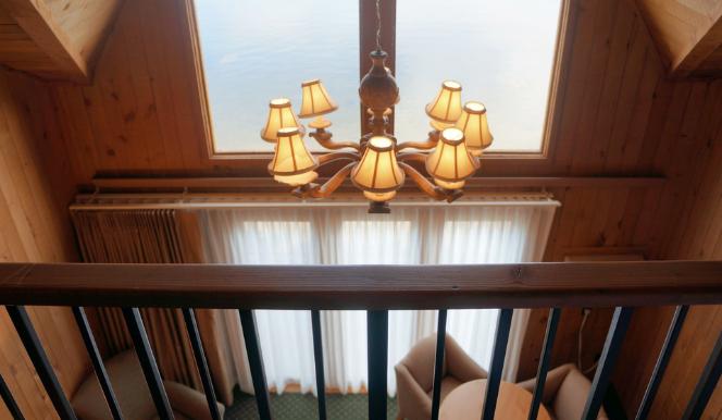 chandelier in villa loft hotel room