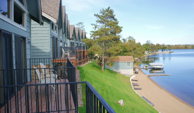 hotel villa balconies face lake