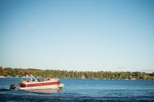 pontoon boat on a lake