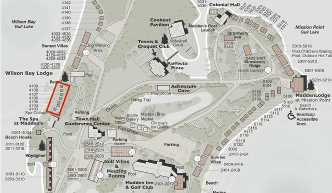wilson bay lodge map illustration