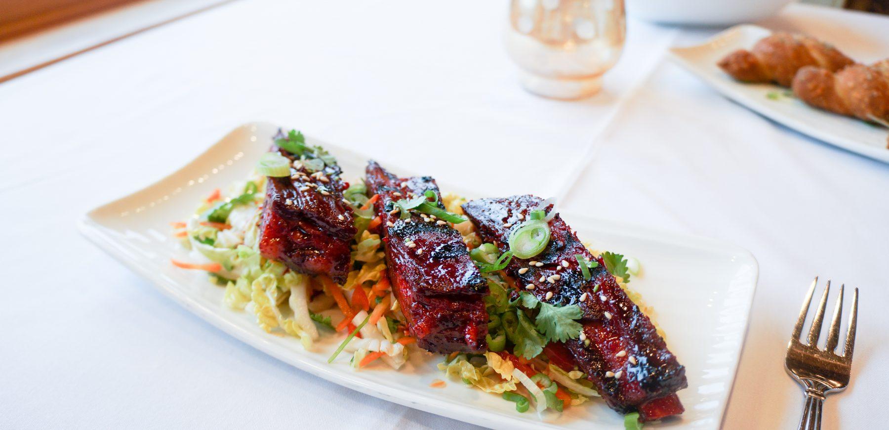 plate of char siu pork ribs