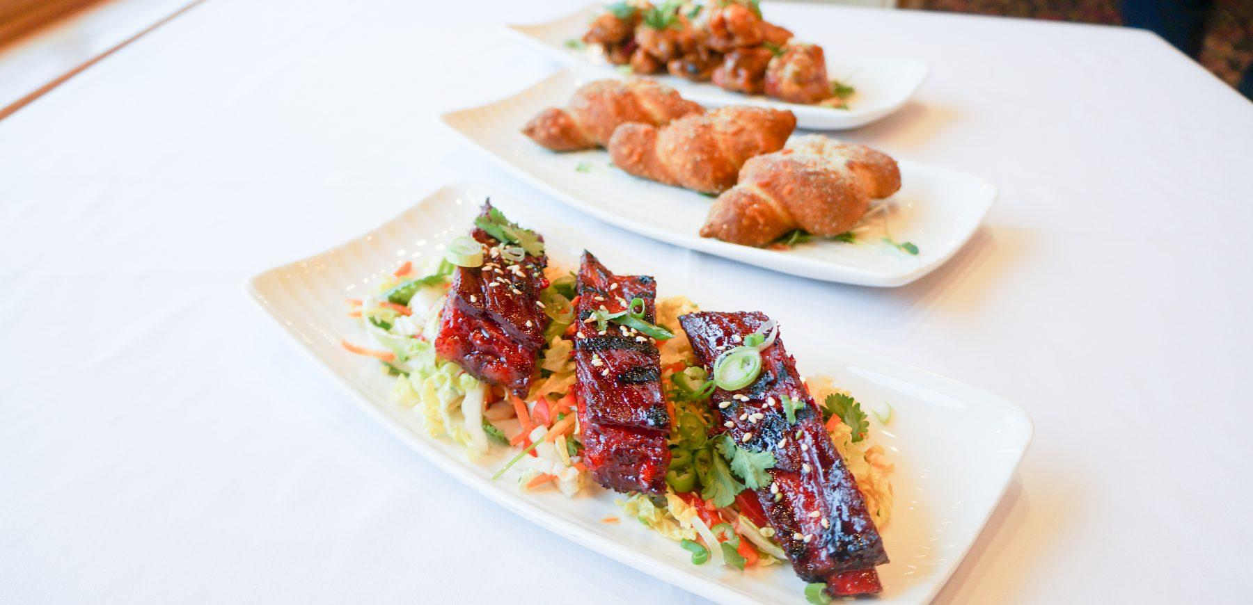 char siu pork ribs, chicken wings and pretzel knots