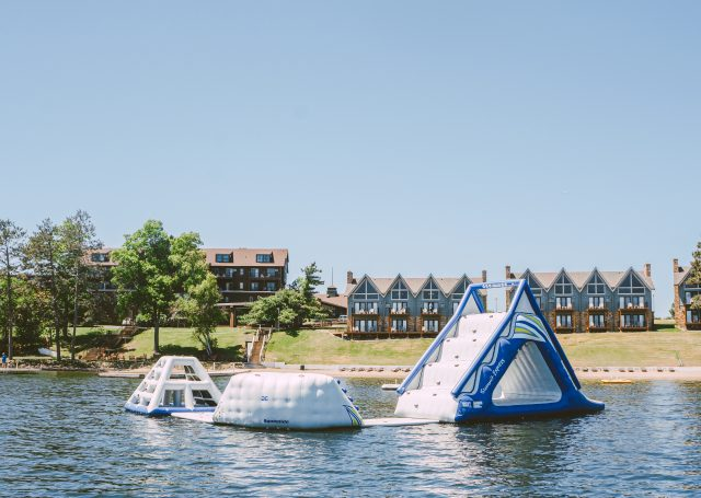inflatable playground in a lake