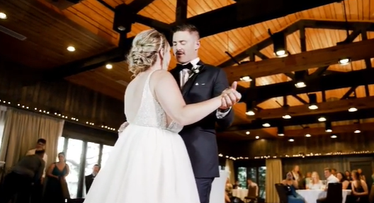bride and groom dance their first dance