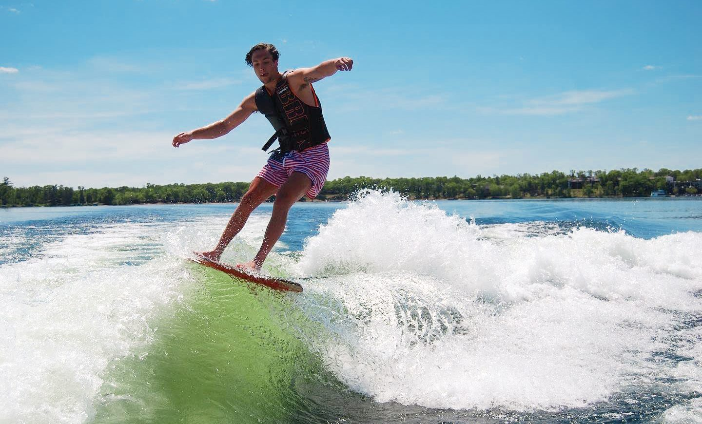 a person wake surfing