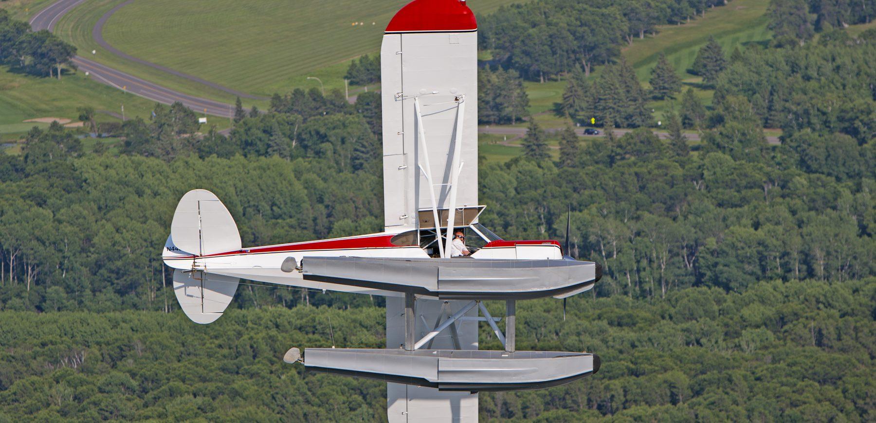 Super Cub Seaplane in Flight